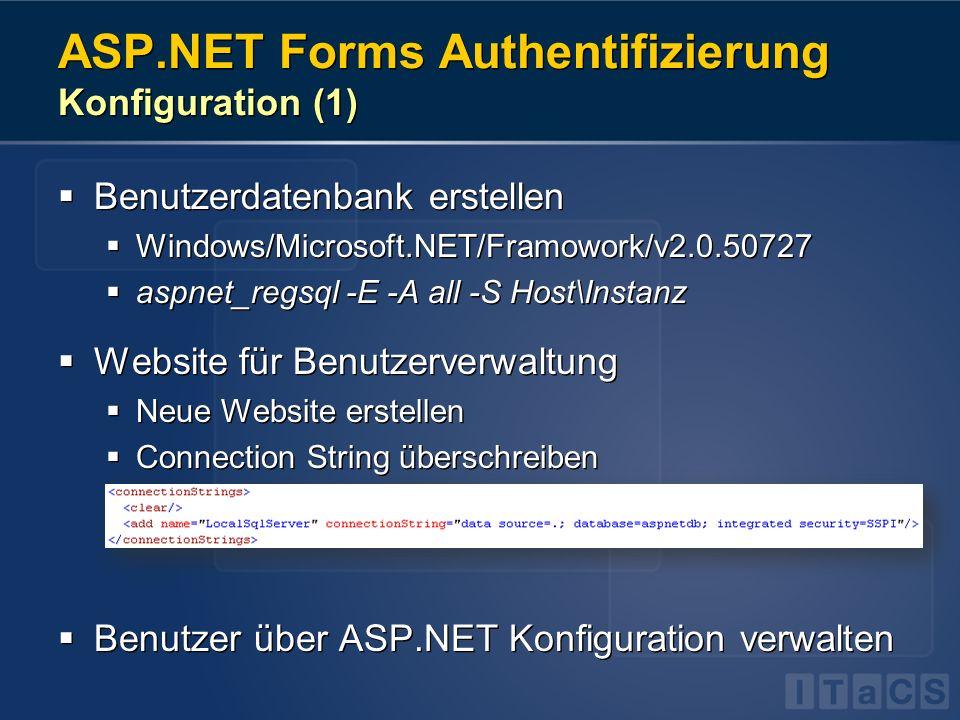 ASP.NET Forms Authentifizierung Konfiguration (1) Benutzerdatenbank erstellen Windows/Microsoft.NET/Framowork/v2.0.50727 aspnet_regsql -E -A all -S Ho