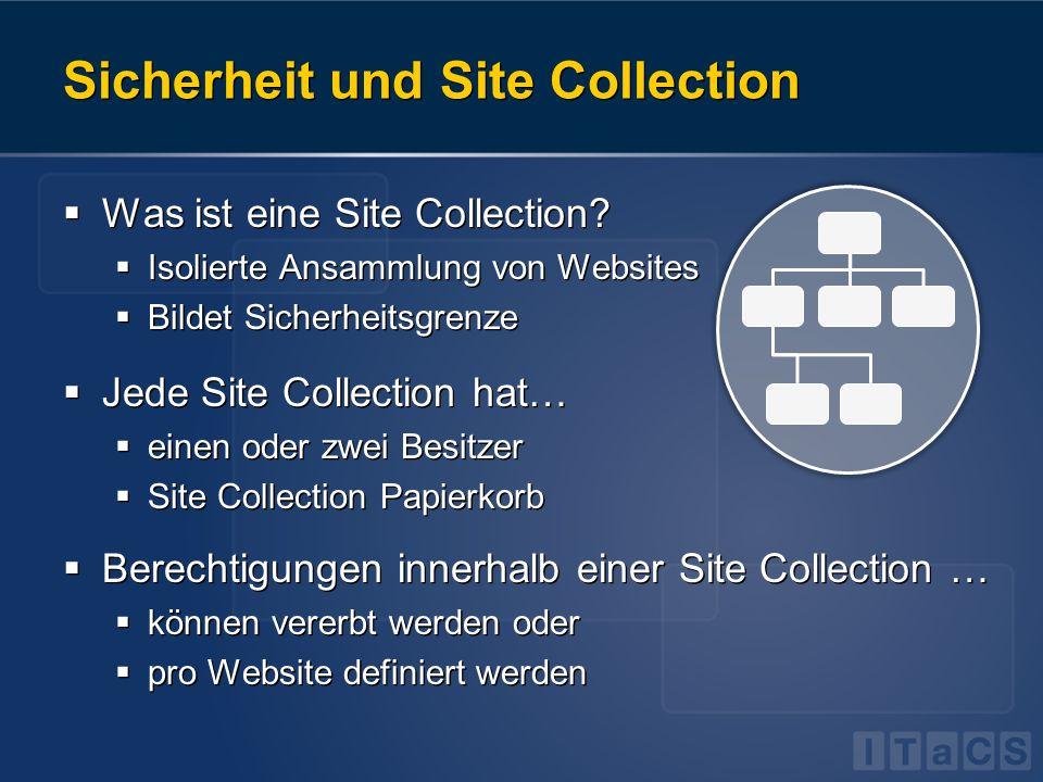 Sicherheit und Site Collection Was ist eine Site Collection? Isolierte Ansammlung von Websites Bildet Sicherheitsgrenze Jede Site Collection hat… eine