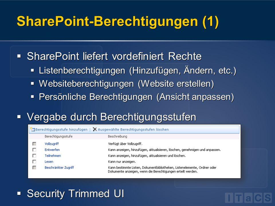 SharePoint-Berechtigungen (1) SharePoint liefert vordefiniert Rechte Listenberechtigungen (Hinzufügen, Ändern, etc.) Websiteberechtigungen (Website er