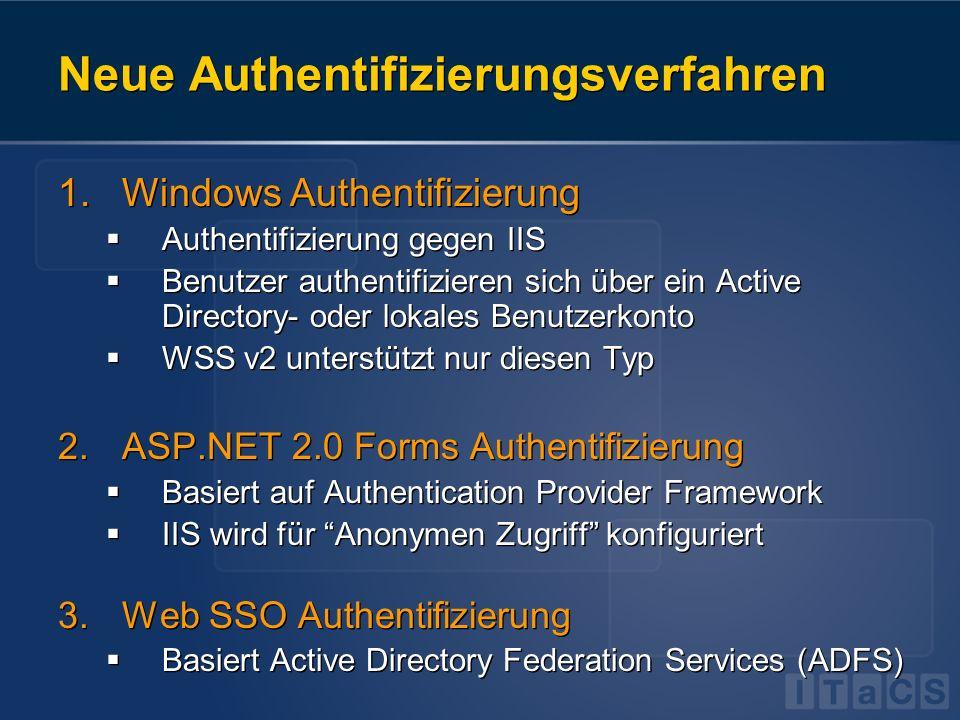 Authentifizierungszonen SharePoint teilt Authentifizierung in Zonen 1 Zone = 1 WSS-erweiterte Webanwendung Jede Zone basiert auf einer IIS Site Pro Zone nur ein Authentifizierungsprovider Windows | Forms | SSO Aber: Zwei erweiterte WSS-Anwendungen können auf dieselbe Inhaltsdatenbank zugreifen Berechtigungen müssen für beide Zonen verwaltet werden SharePoint teilt Authentifizierung in Zonen 1 Zone = 1 WSS-erweiterte Webanwendung Jede Zone basiert auf einer IIS Site Pro Zone nur ein Authentifizierungsprovider Windows | Forms | SSO Aber: Zwei erweiterte WSS-Anwendungen können auf dieselbe Inhaltsdatenbank zugreifen Berechtigungen müssen für beide Zonen verwaltet werden