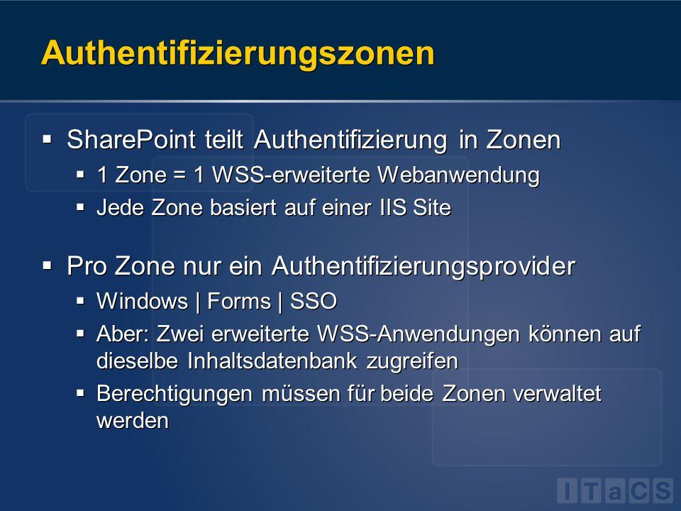 Authentifizierungszonen SharePoint teilt Authentifizierung in Zonen 1 Zone = 1 WSS-erweiterte Webanwendung Jede Zone basiert auf einer IIS Site Pro Zo