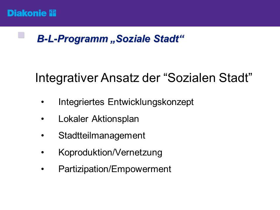 Integrativer Ansatz der Sozialen Stadt Integriertes Entwicklungskonzept Lokaler Aktionsplan Stadtteilmanagement Koproduktion/Vernetzung Partizipation/