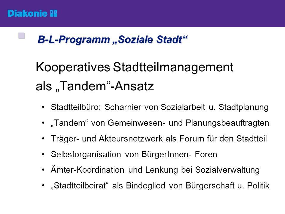 Kooperatives Stadtteilmanagement als Tandem-Ansatz Stadtteilbüro: Scharnier von Sozialarbeit u. Stadtplanung Tandem von Gemeinwesen- und Planungsbeauf