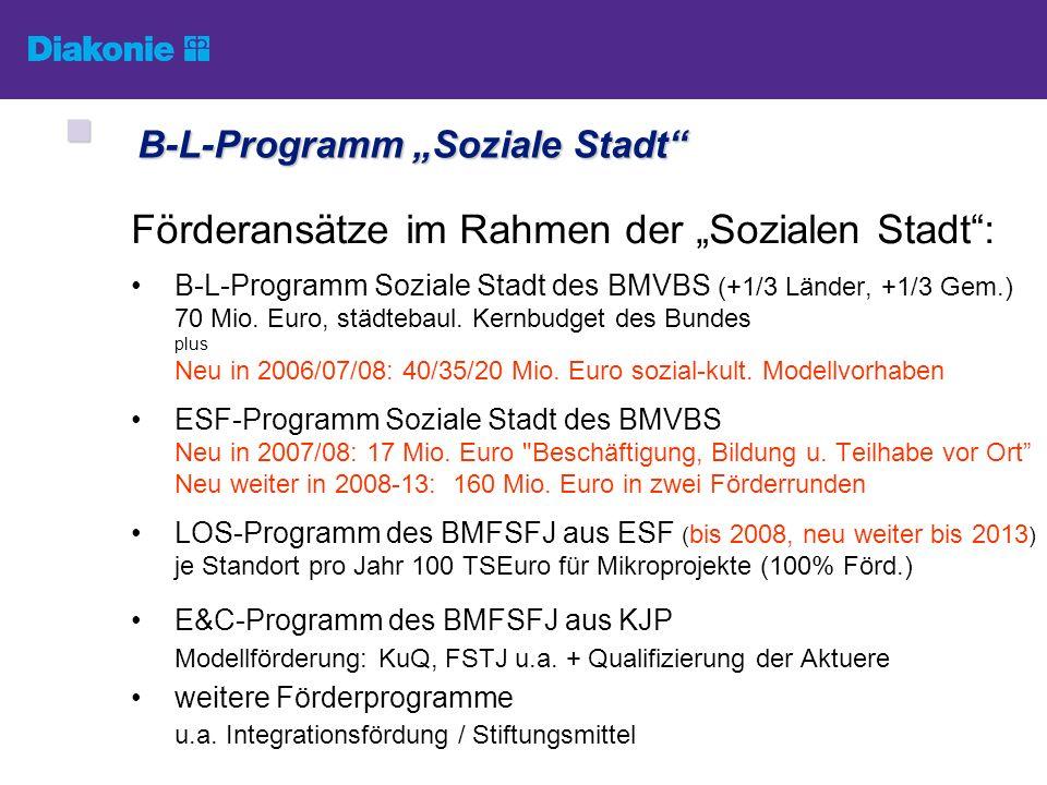 B-L-Programm Soziale Stadt B-L-Programm Soziale Stadt Förderansätze im Rahmen der Sozialen Stadt: B-L-Programm Soziale Stadt des BMVBS (+1/3 Länder, +