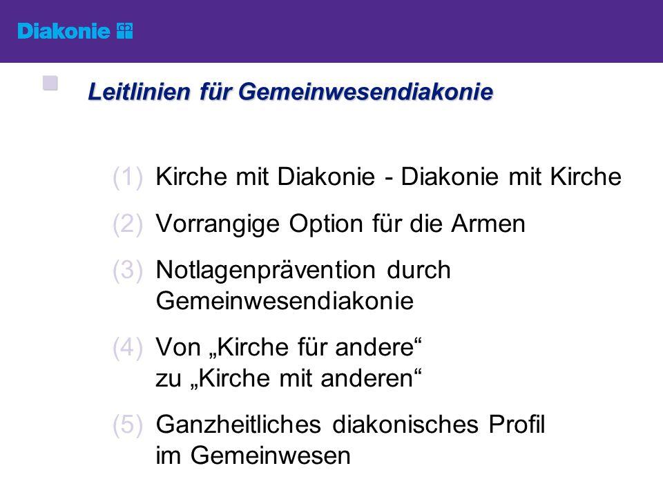 (1)Kirche mit Diakonie - Diakonie mit Kirche (2)Vorrangige Option für die Armen (3)Notlagenprävention durch Gemeinwesendiakonie (4)Von Kirche für ande