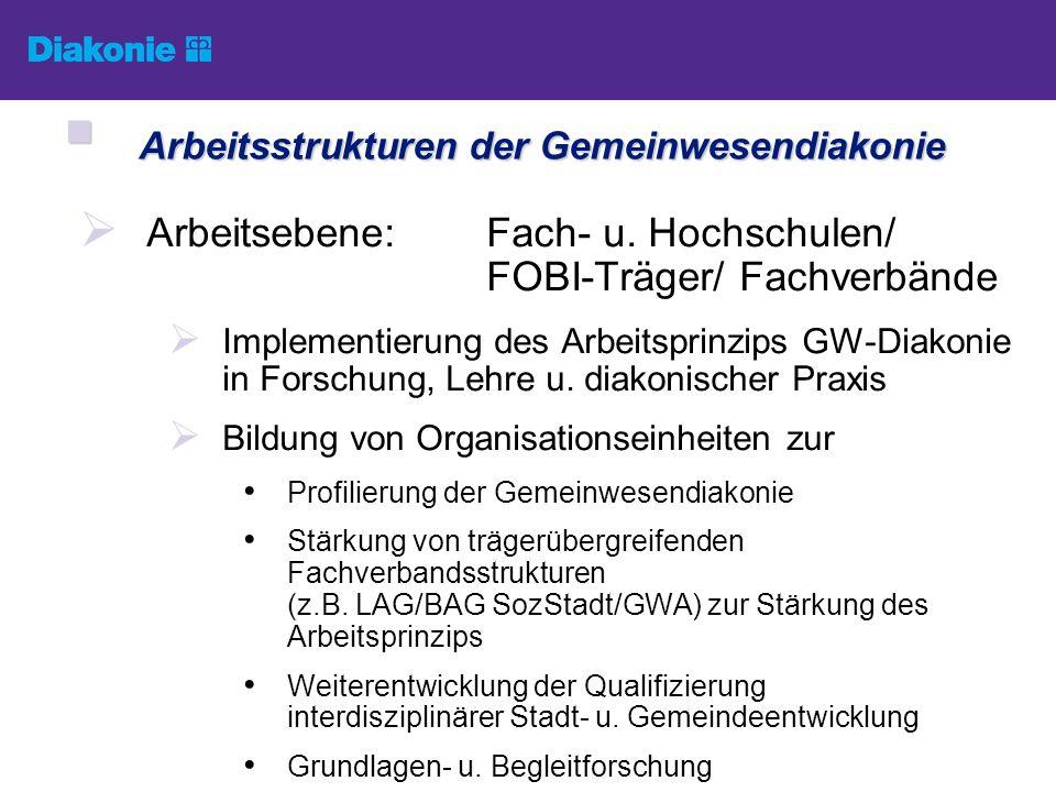 Arbeitsebene:Fach- u. Hochschulen/ FOBI-Träger/ Fachverbände Implementierung des Arbeitsprinzips GW-Diakonie in Forschung, Lehre u. diakonischer Praxi