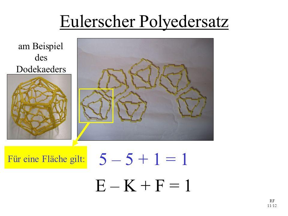 RF 11/12 Eulerscher Polyedersatz E – K + F = 1 5 – 5 + 1 = 1 am Beispiel des Dodekaeders Für eine Fläche gilt: