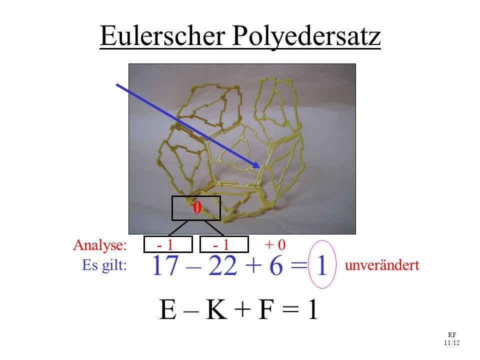 RF 11/12 Eulerscher Polyedersatz E – K + F = 1 17 – 22 + 6 = 1 Es gilt: - 1 + 0 unverändert Analyse: 0
