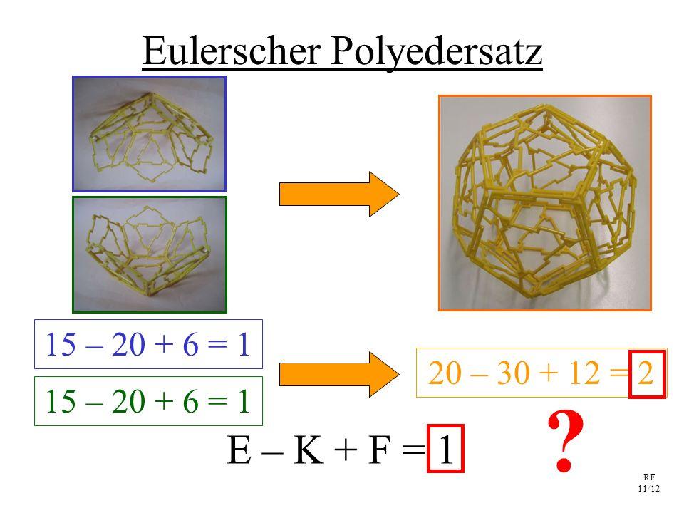 RF 11/12 Eulerscher Polyedersatz E – K + F = 1 15 – 20 + 6 = 1 20 – 30 + 12 = 2 ?