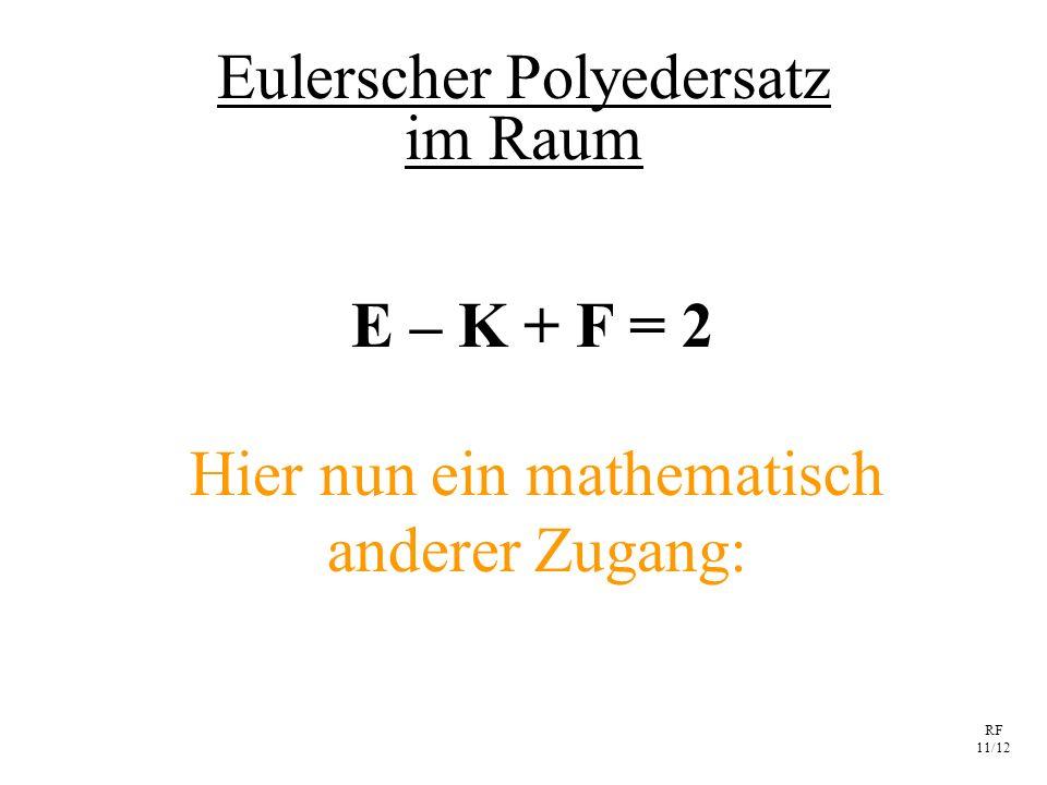 RF 11/12 Eulerscher Polyedersatz E – K + F = 2 Hier nun ein mathematisch anderer Zugang: im Raum