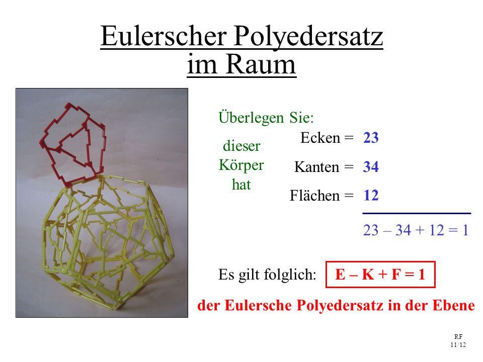 RF 11/12 Eulerscher Polyedersatz im Raum Ecken = Kanten = Flächen = E – K + F = 1 23 34 12 23 – 34 + 12 = 1 dieser Körper hat Es gilt folglich: Überle