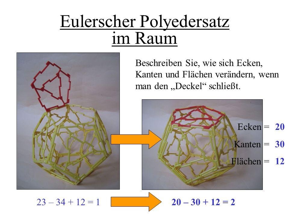 RF 11/12 Eulerscher Polyedersatz im Raum Beschreiben Sie, wie sich Ecken, Kanten und Flächen verändern, wenn man den Deckel schließt. Ecken = Kanten =