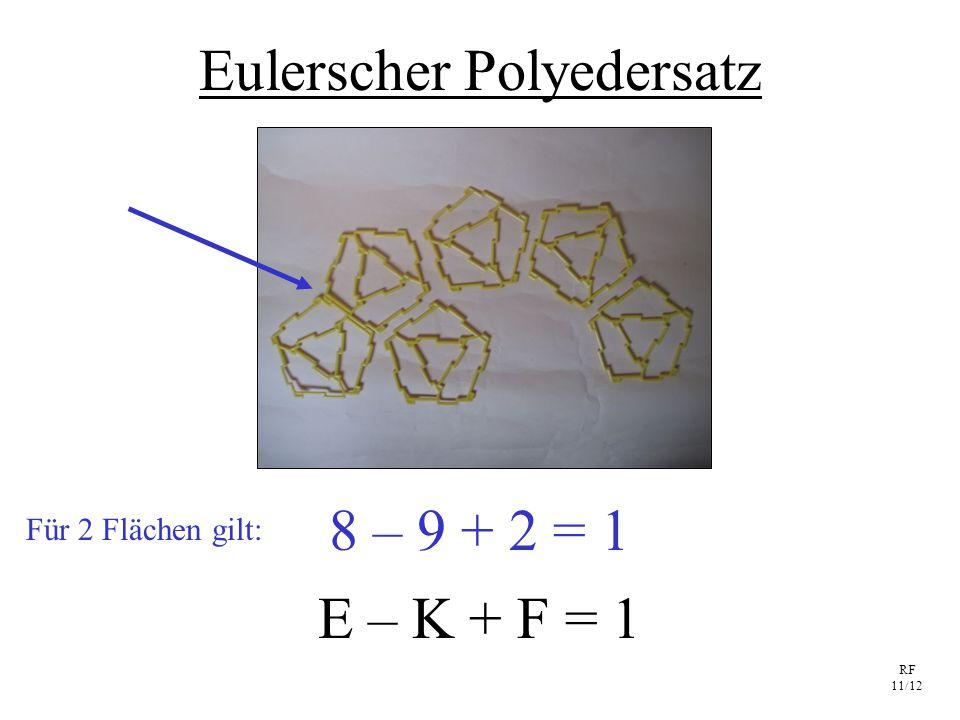 RF 11/12 Eulerscher Polyedersatz E – K + F = 1 8 – 9 + 2 = 1 Für 2 Flächen gilt: