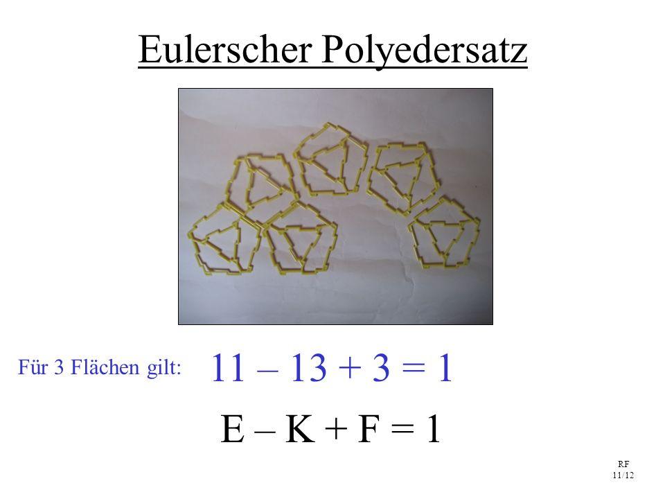 RF 11/12 Eulerscher Polyedersatz E – K + F = 1 11 – 13 + 3 = 1 Für 3 Flächen gilt: