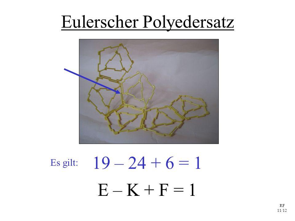 RF 11/12 Eulerscher Polyedersatz E – K + F = 1 19 – 24 + 6 = 1 Es gilt: