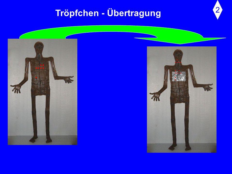 Tröpfchen - Übertragung Mit rascher Öffnung ('Sprengung') der Stimmbänder erfolgt ein Exspirationsstoß. Dabei kann es zu Geschwindigkeiten der austret