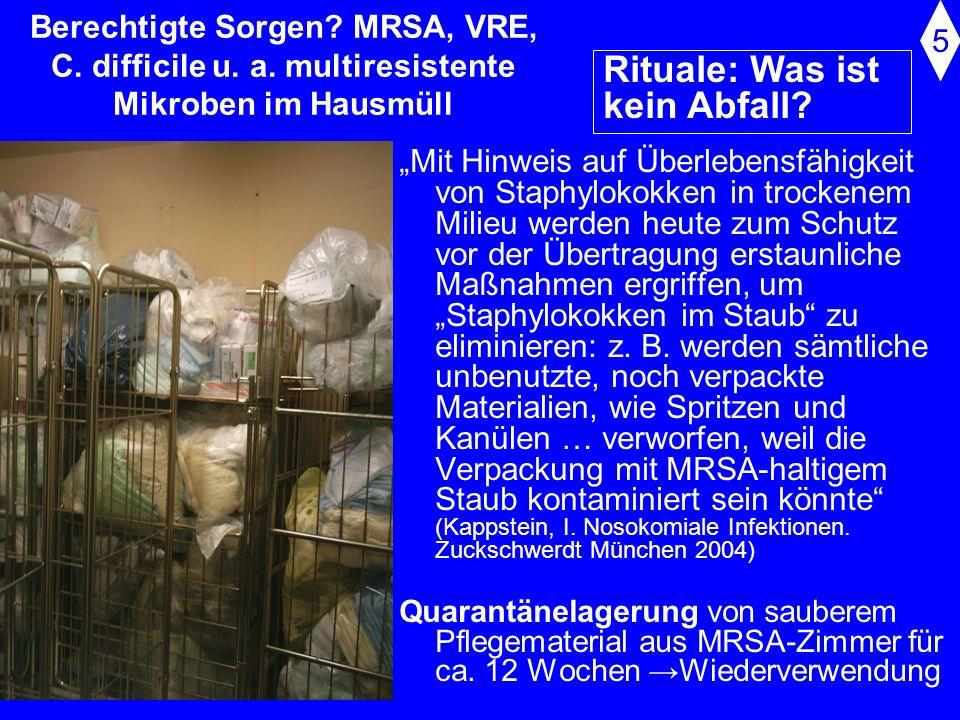 Berechtigte Sorgen? MRSA, VRE, C. difficile u. a. multiresistente Mikroben im Hausmüll Schriftwechsel mit Prof. Rüden 1997: er stellte klar, dass...MR