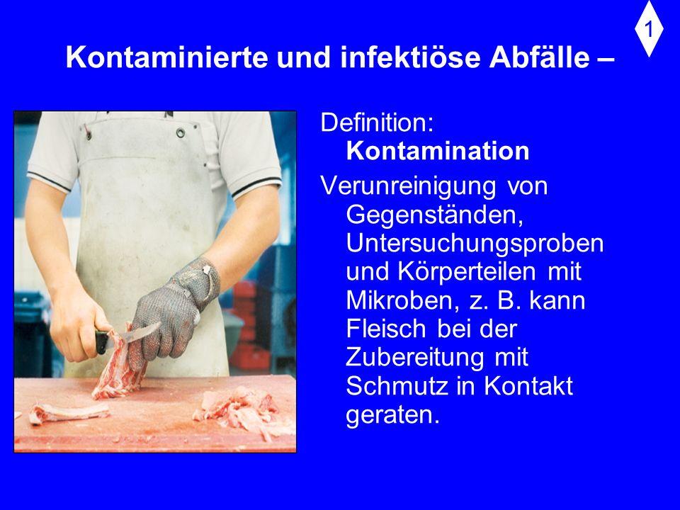 Kontaminierte und infektiöse Abfälle – Definition: Infektion Infektion (lat. inficere = etwas hineintun) meint die Übertragung (Ansteckung, Kontagion)