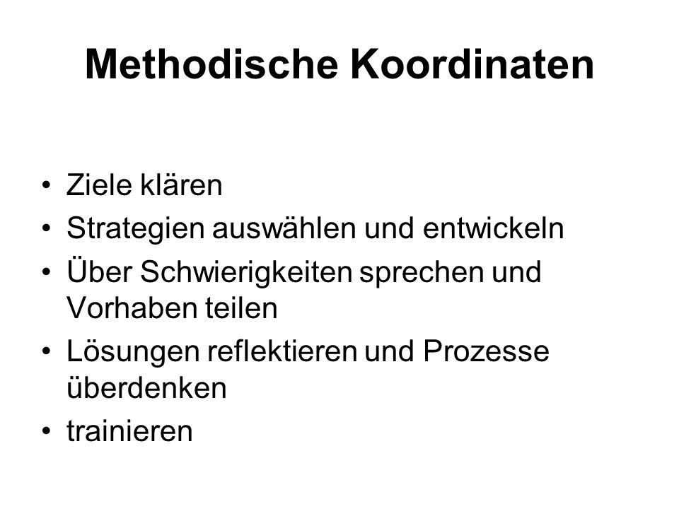 Methodische Koordinaten Ziele klären Strategien auswählen und entwickeln Über Schwierigkeiten sprechen und Vorhaben teilen Lösungen reflektieren und P