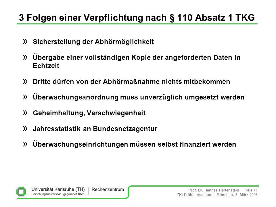 Prof. Dr. Hannes Hartenstein - Folie 11 ZKI Frühjahrstagung, München, 7. März 2006 3 Folgen einer Verpflichtung nach § 110 Absatz 1 TKG » Sicherstellu