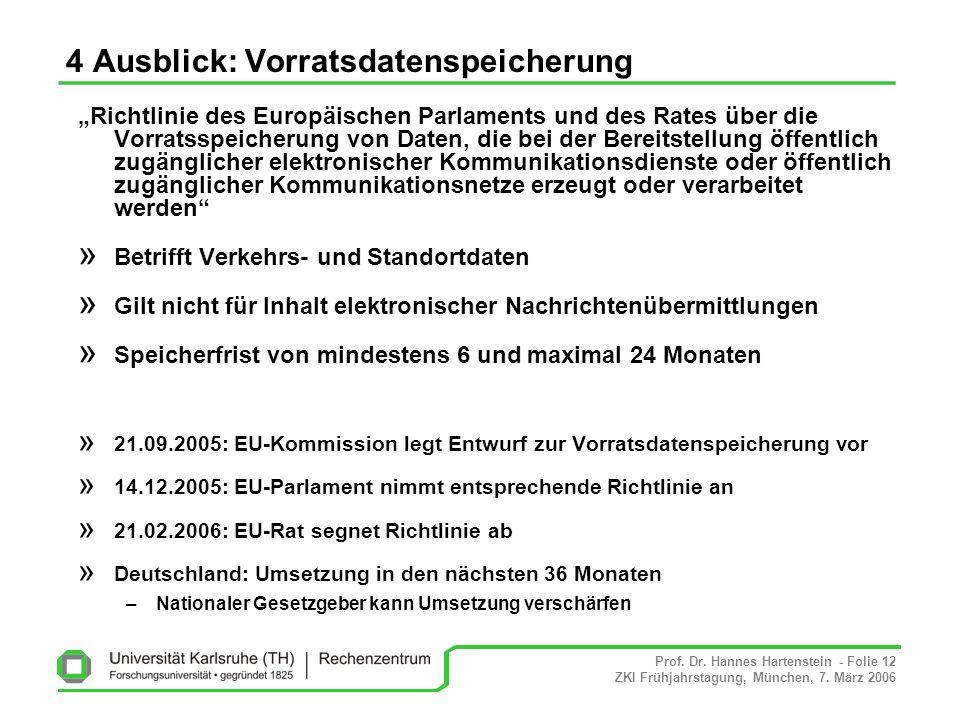 Prof. Dr. Hannes Hartenstein - Folie 12 ZKI Frühjahrstagung, München, 7. März 2006 4 Ausblick: Vorratsdatenspeicherung Richtlinie des Europäischen Par