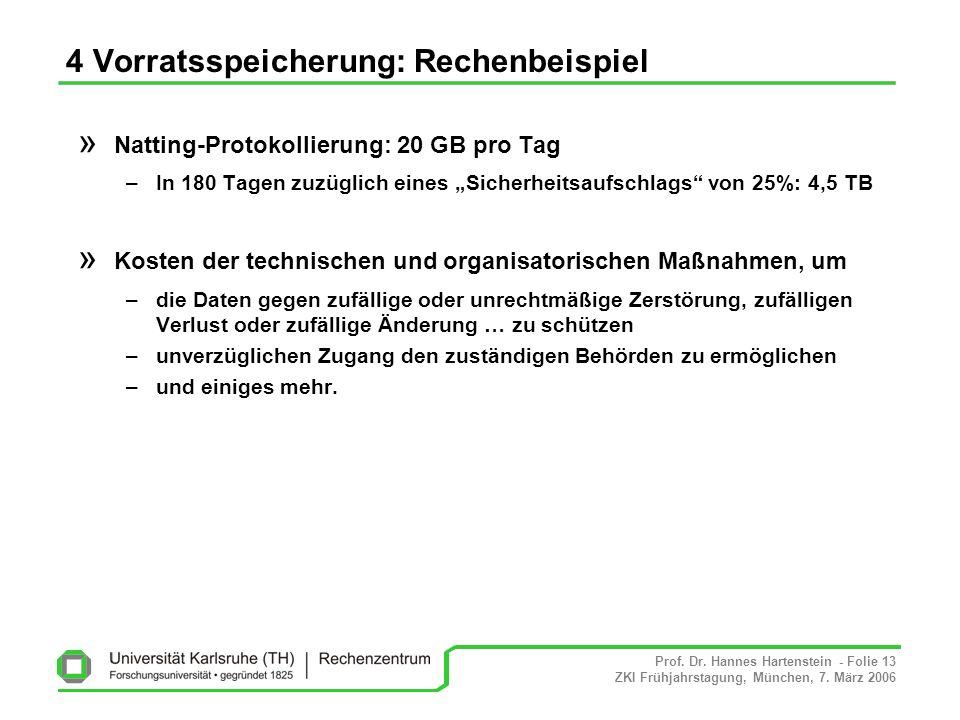 Prof. Dr. Hannes Hartenstein - Folie 13 ZKI Frühjahrstagung, München, 7. März 2006 4 Vorratsspeicherung: Rechenbeispiel » Natting-Protokollierung: 20