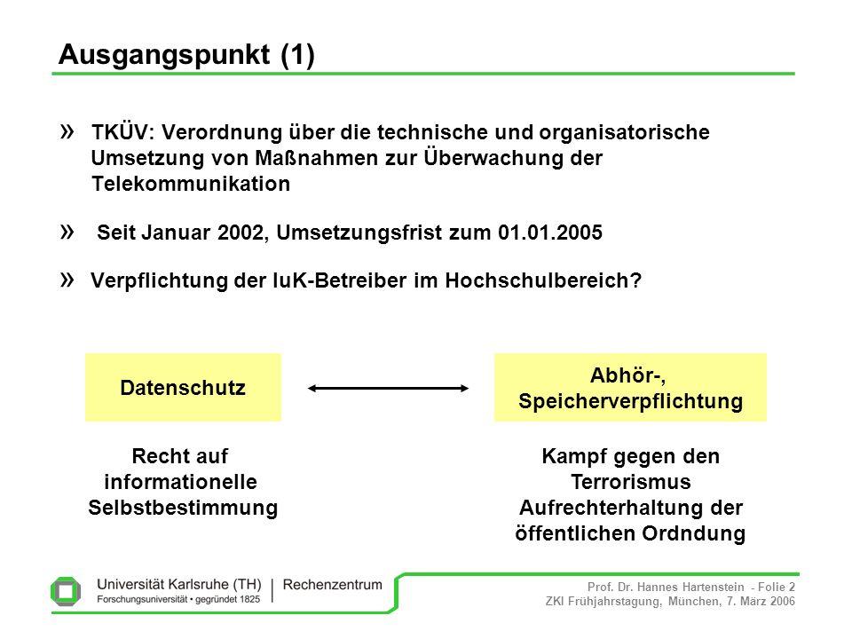 Prof. Dr. Hannes Hartenstein - Folie 2 ZKI Frühjahrstagung, München, 7. März 2006 » TKÜV: Verordnung über die technische und organisatorische Umsetzun