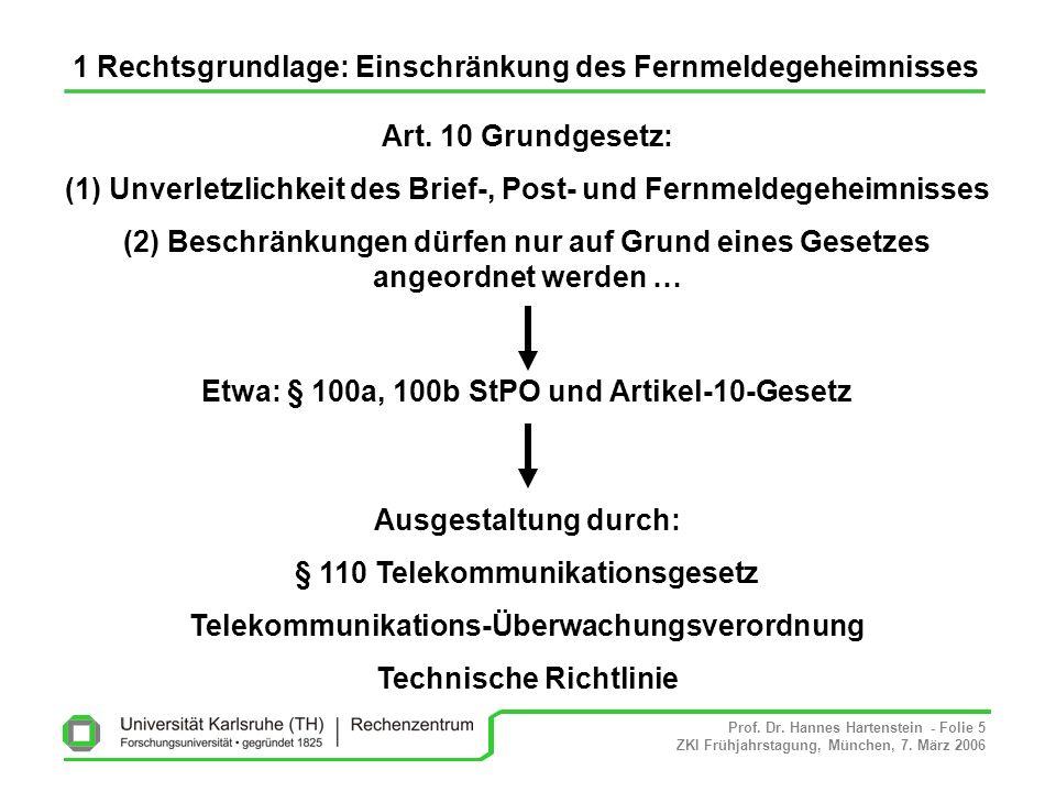 Prof. Dr. Hannes Hartenstein - Folie 5 ZKI Frühjahrstagung, München, 7. März 2006 1 Rechtsgrundlage: Einschränkung des Fernmeldegeheimnisses Art. 10 G