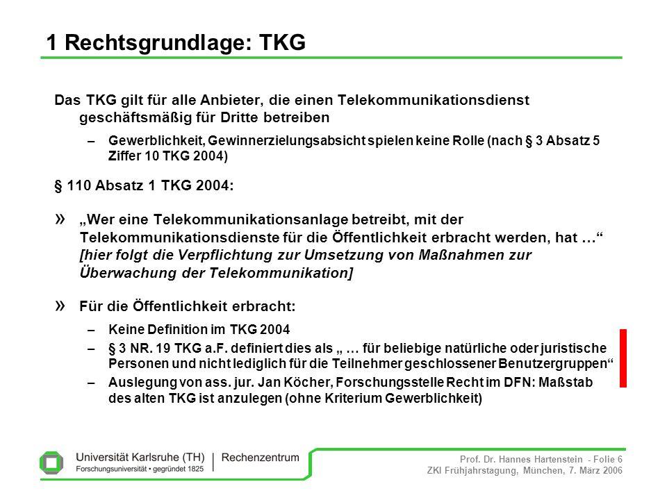 Prof. Dr. Hannes Hartenstein - Folie 6 ZKI Frühjahrstagung, München, 7. März 2006 1 Rechtsgrundlage: TKG Das TKG gilt für alle Anbieter, die einen Tel
