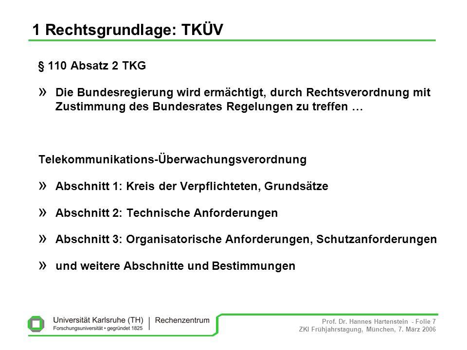 Prof. Dr. Hannes Hartenstein - Folie 7 ZKI Frühjahrstagung, München, 7. März 2006 1 Rechtsgrundlage: TKÜV § 110 Absatz 2 TKG » Die Bundesregierung wir
