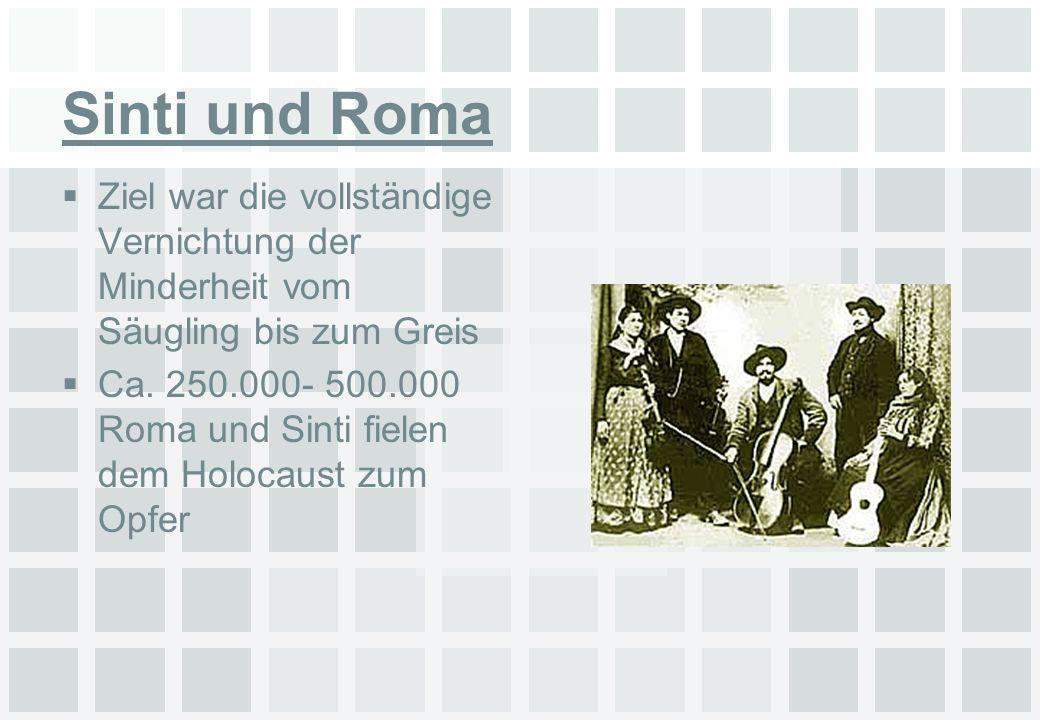 Sinti und Roma Ziel war die vollständige Vernichtung der Minderheit vom Säugling bis zum Greis Ca. 250.000- 500.000 Roma und Sinti fielen dem Holocaus