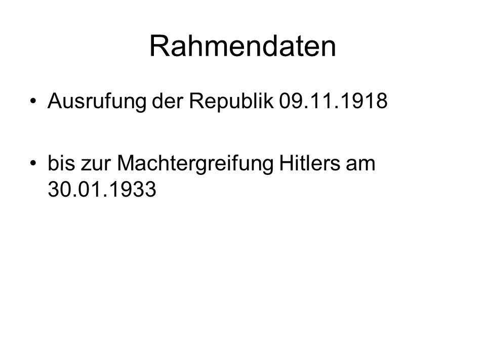 Rahmendaten Ausrufung der Republik 09.11.1918 bis zur Machtergreifung Hitlers am 30.01.1933