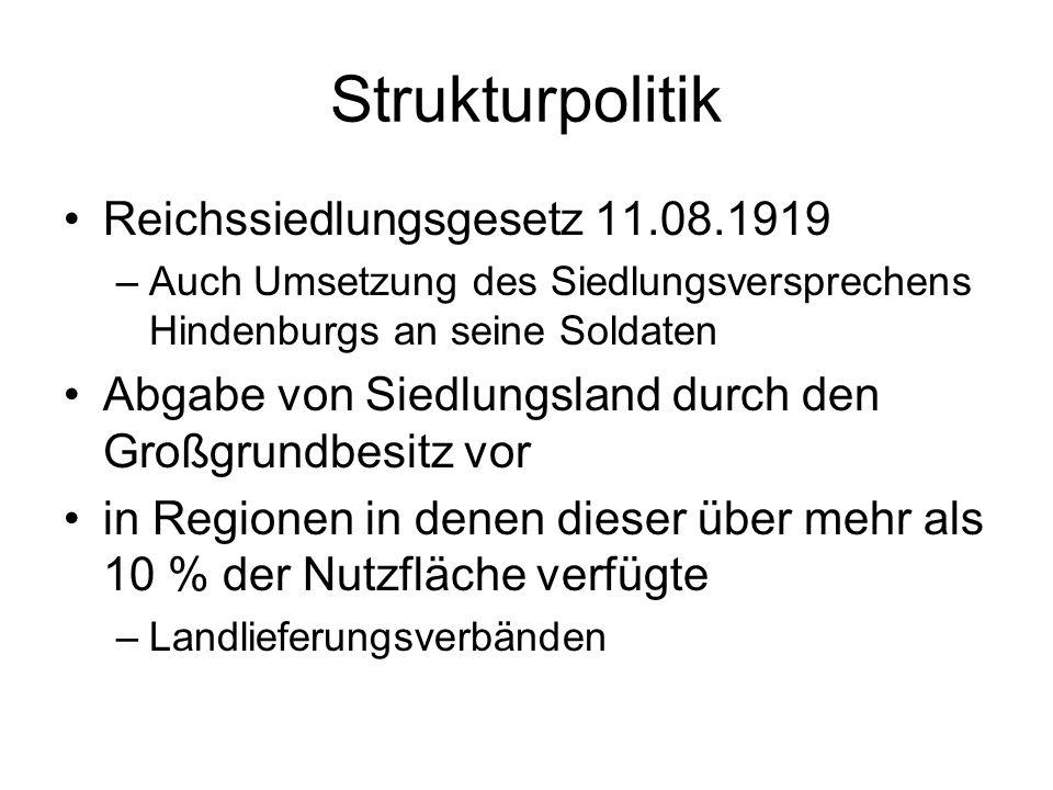 Strukturpolitik Reichssiedlungsgesetz 11.08.1919 –Auch Umsetzung des Siedlungsversprechens Hindenburgs an seine Soldaten Abgabe von Siedlungsland durc