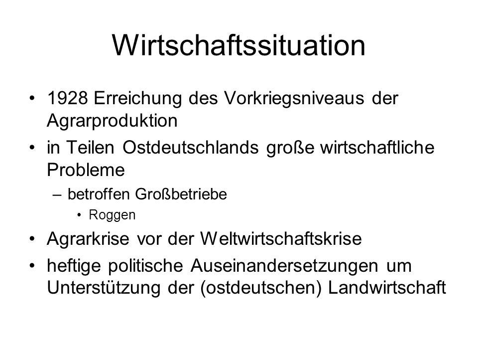 Wirtschaftssituation 1928 Erreichung des Vorkriegsniveaus der Agrarproduktion in Teilen Ostdeutschlands große wirtschaftliche Probleme –betroffen Groß