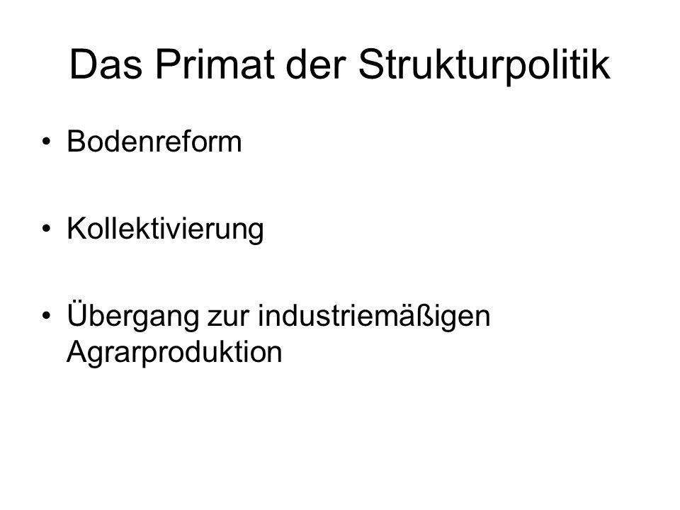 Das Primat der Strukturpolitik Bodenreform Kollektivierung Übergang zur industriemäßigen Agrarproduktion