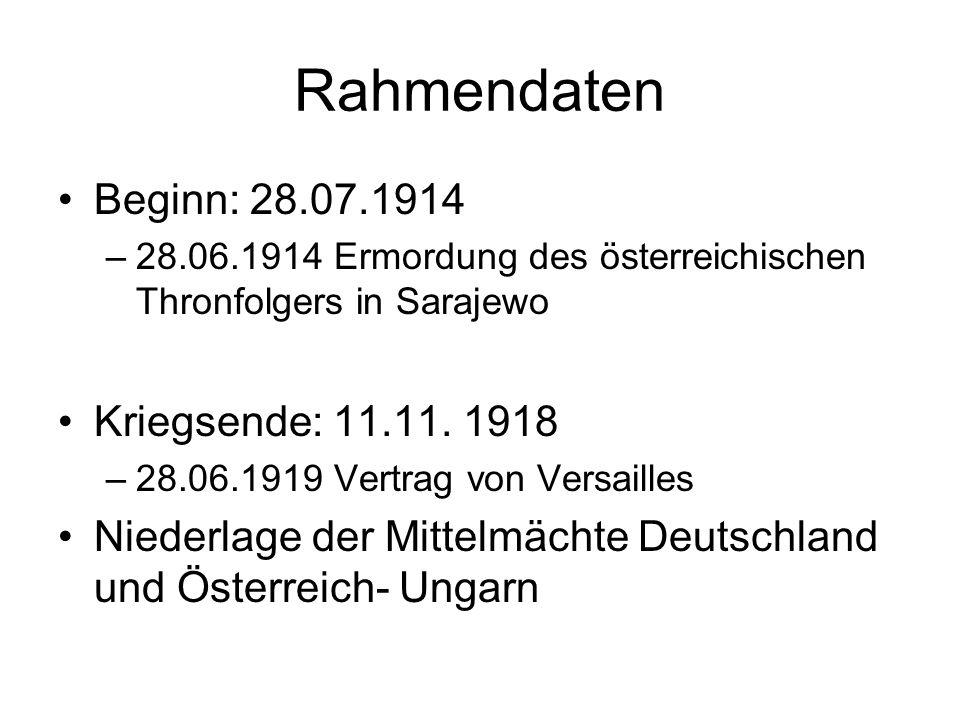 Rahmendaten Beginn: 28.07.1914 –28.06.1914 Ermordung des österreichischen Thronfolgers in Sarajewo Kriegsende: 11.11. 1918 –28.06.1919 Vertrag von Ver