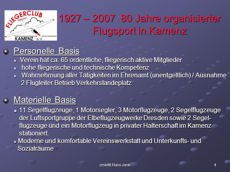 erstellt:Hans Jank 4 1927 – 2007 80 Jahre organisierter Flugsport in Kamenz Personelle Basis Personelle Basis Verein hat ca. 65 ordentliche, fliegeris