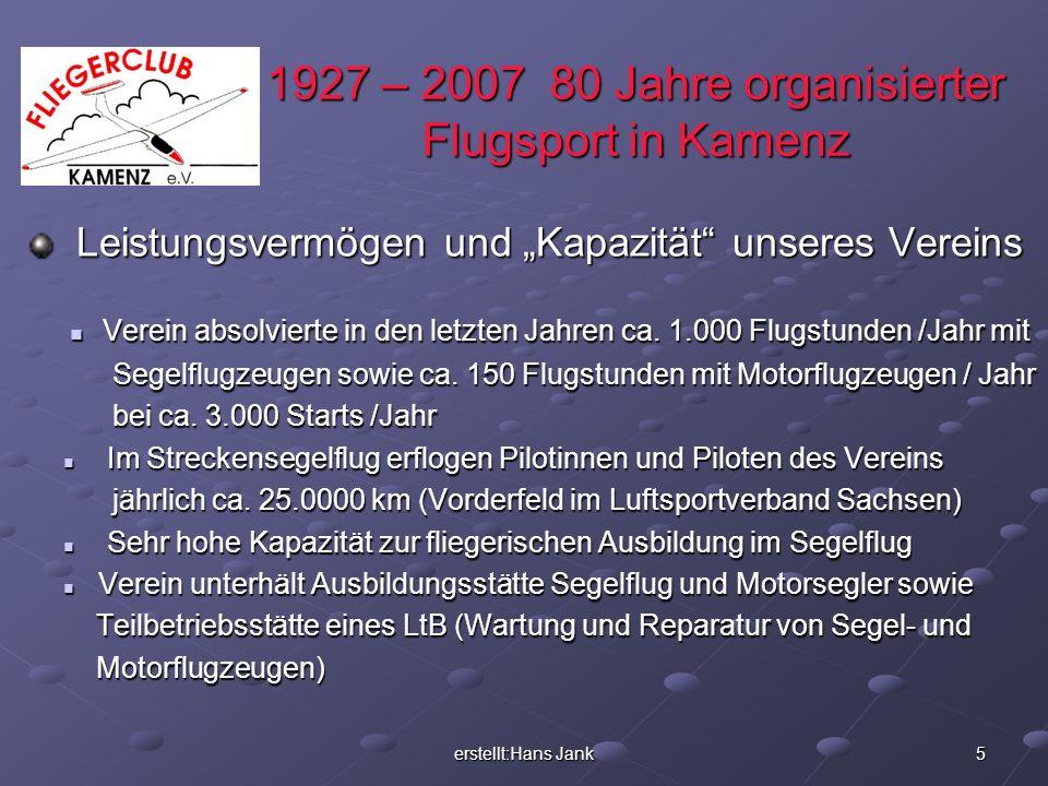 erstellt:Hans Jank 5 1927 – 2007 80 Jahre organisierter Flugsport in Kamenz Leistungsvermögen und Kapazität unseres Vereins Leistungsvermögen und Kapa