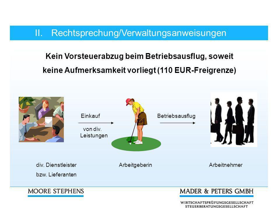 II.Rechtsprechung/Verwaltungsanweisungen Kein Vorsteuerabzug beim Betriebsausflug, soweit keine Aufmerksamkeit vorliegt (110 EUR-Freigrenze) Einkauf B