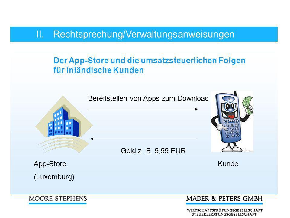 II.Rechtsprechung/Verwaltungsanweisungen Der App-Store und die umsatzsteuerlichen Folgen für inländische Kunden Bereitstellen von Apps zum Download Ge