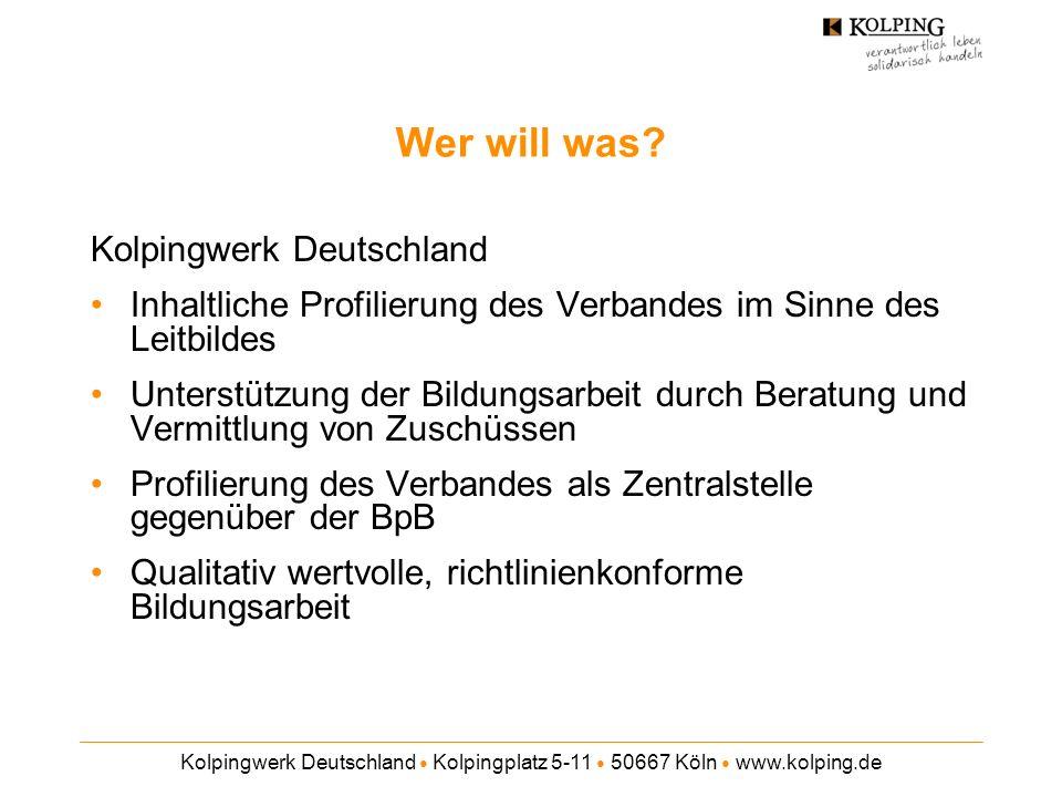 Kolpingwerk Deutschland Kolpingplatz 5-11 50667 Köln www.kolping.de Wer will was? Kolpingwerk Deutschland Inhaltliche Profilierung des Verbandes im Si