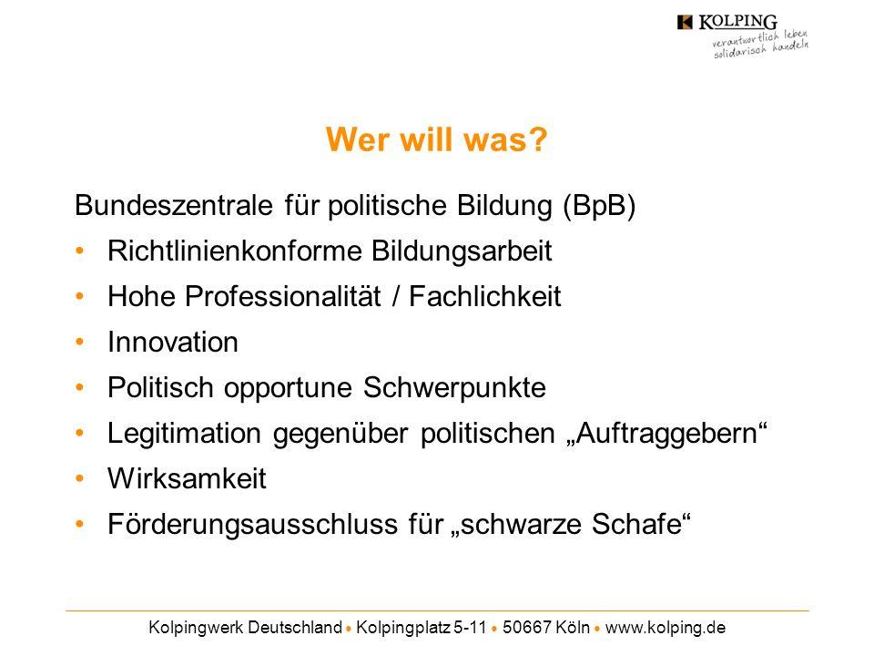 Kolpingwerk Deutschland Kolpingplatz 5-11 50667 Köln www.kolping.de Wer will was? Bundeszentrale für politische Bildung (BpB) Richtlinienkonforme Bild