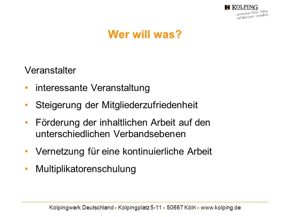 Kolpingwerk Deutschland Kolpingplatz 5-11 50667 Köln www.kolping.de Wer will was? Veranstalter interessante Veranstaltung Steigerung der Mitgliederzuf