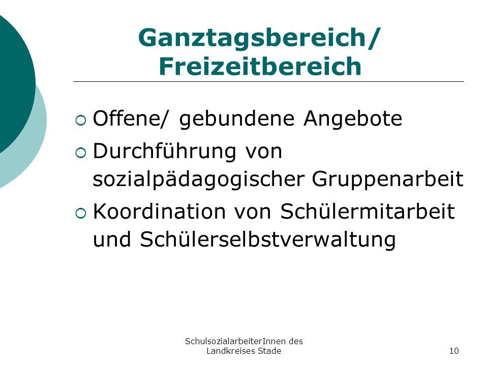 SchulsozialarbeiterInnen des Landkreises Stade10 Ganztagsbereich/ Freizeitbereich Offene/ gebundene Angebote Durchführung von sozialpädagogischer Grup