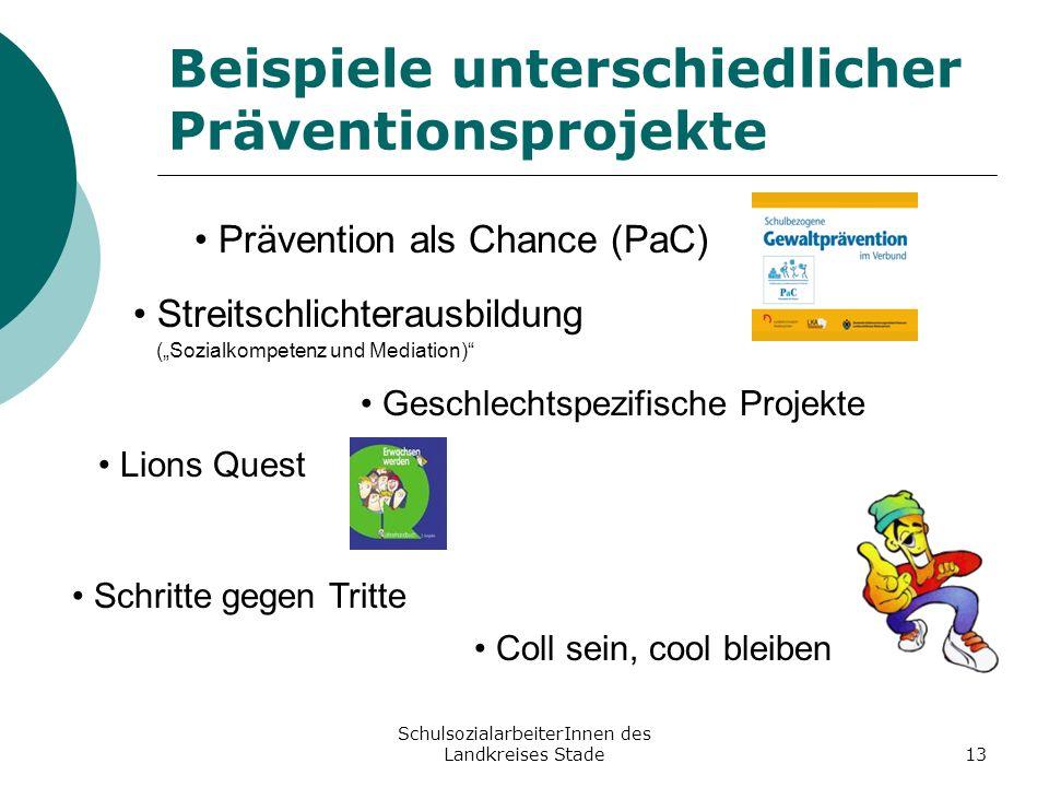 SchulsozialarbeiterInnen des Landkreises Stade13 Beispiele unterschiedlicher Präventionsprojekte Prävention als Chance (PaC) Streitschlichterausbildun