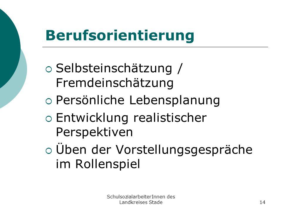 SchulsozialarbeiterInnen des Landkreises Stade14 Berufsorientierung Selbsteinschätzung / Fremdeinschätzung Persönliche Lebensplanung Entwicklung reali