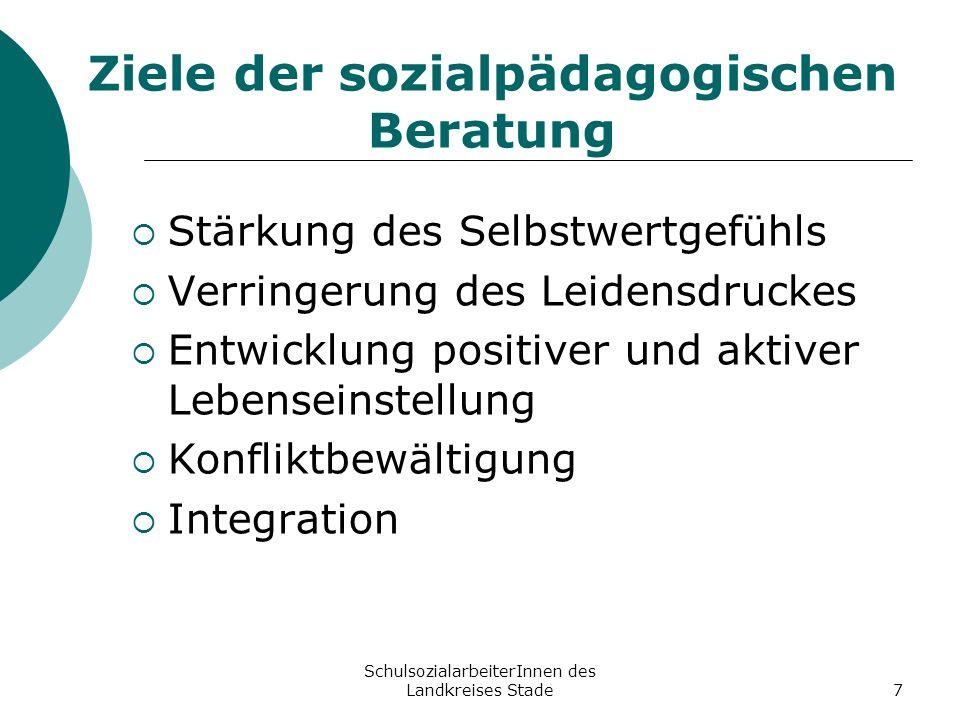 SchulsozialarbeiterInnen des Landkreises Stade7 Ziele der sozialpädagogischen Beratung Stärkung des Selbstwertgefühls Verringerung des Leidensdruckes
