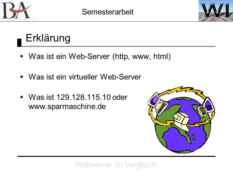 Semesterarbeit Webserver im Vergleich Erklärung Was ist ein Web-Server (http, www, html) Was ist ein virtueller Web-Server Was ist 129.128.115.10 oder