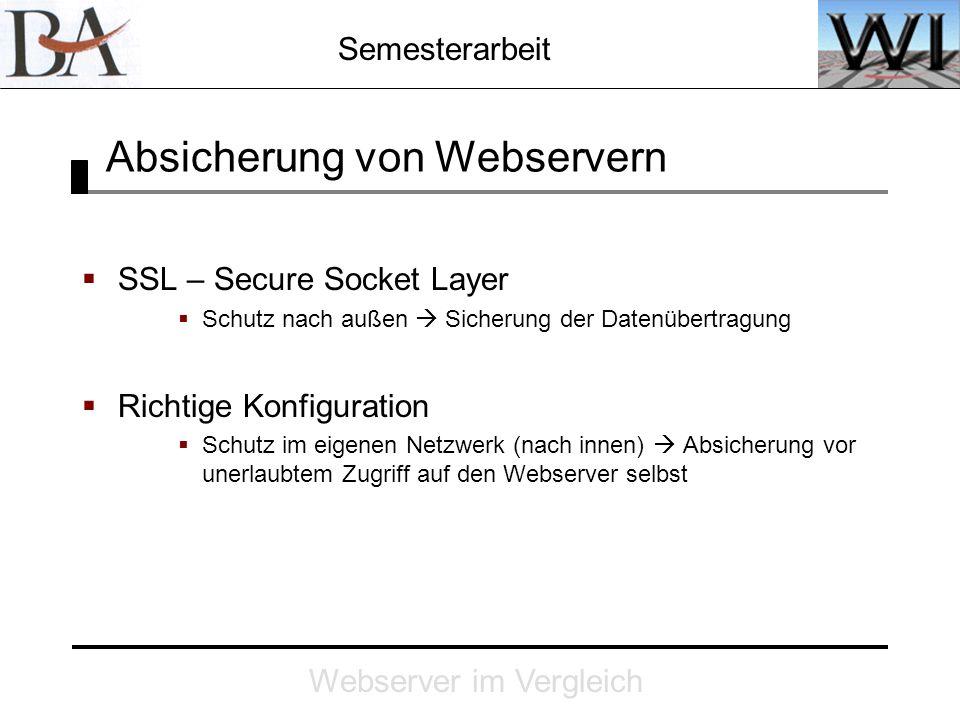 Semesterarbeit Webserver im Vergleich Absicherung von Webservern SSL – Secure Socket Layer Schutz nach außen Sicherung der Datenübertragung Richtige K