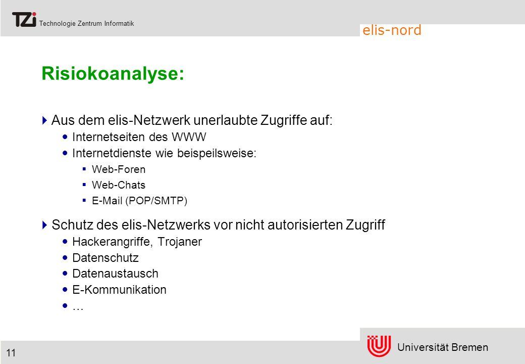Universität Bremen Technologie Zentrum Informatik elis-nord 11 Risiokoanalyse: Aus dem elis-Netzwerk unerlaubte Zugriffe auf: Internetseiten des WWW I
